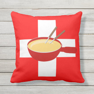 Eu amo a suiça - bandeira e Fondue suíços Almofada