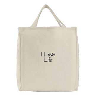 Eu amo a vida bolsa tote bordada