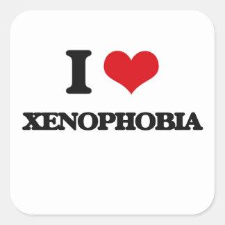 Eu amo a xenofobia adesivo quadrado