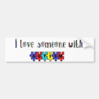 Eu amo alguém com autismo adesivo para carro