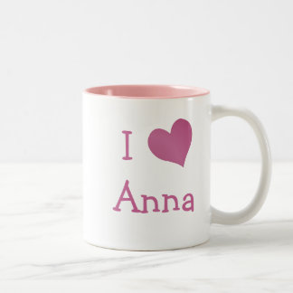 Eu amo Anna Caneca De Café Em Dois Tons
