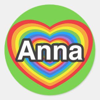 Eu amo Anna. Eu te amo Anna. Coração Adesivo