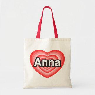Eu amo Anna. Eu te amo Anna. Coração Bolsa Para Compras