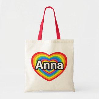Eu amo Anna. Eu te amo Anna. Coração Bolsas De Lona