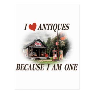 Eu amo antiguidades porque eu sou uma cartão postal