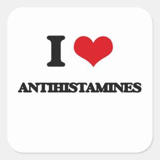 Eu amo antistamínicos adesivo quadrado