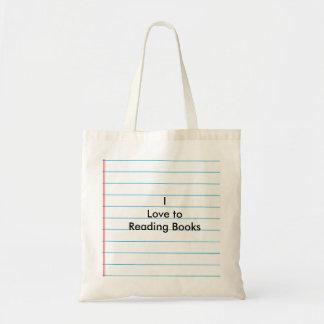 """""""Eu amo aos livros de leitura """" Bolsa Tote"""
