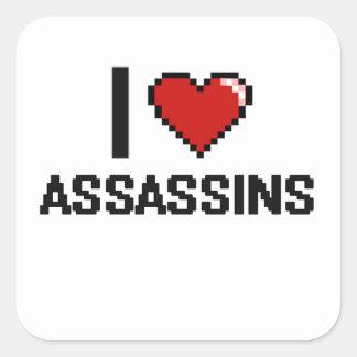 Eu amo assassinos adesivo quadrado
