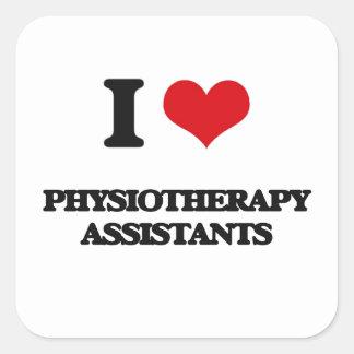 Eu amo assistentes da fisioterapia adesivo quadrado