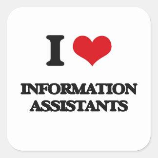 Eu amo assistentes da informação adesivo em forma quadrada