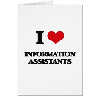 Eu amo assistentes da informação cartão