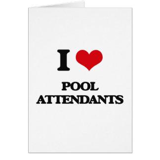 Eu amo assistentes da piscina cartão comemorativo