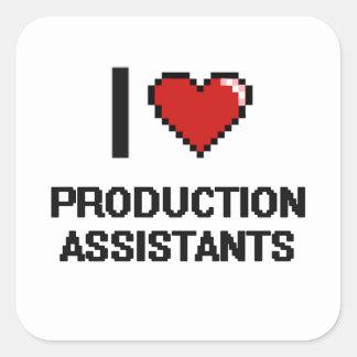 Eu amo assistentes da produção adesivo quadrado