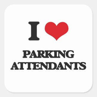 Eu amo assistentes de estacionamento adesivo quadrado