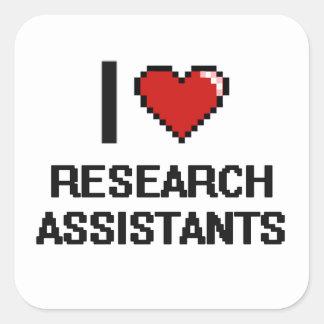 Eu amo assistentes de pesquisa adesivo quadrado