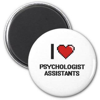 Eu amo assistentes do psicólogo ímã redondo 5.08cm