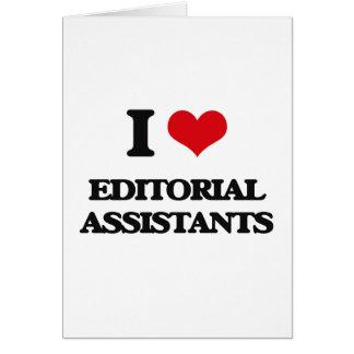 Eu amo assistentes editoriais cartão comemorativo