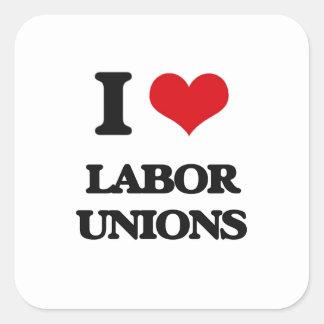 Eu amo associações de trabalhadores adesivo quadrado