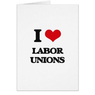Eu amo associações de trabalhadores cartão comemorativo