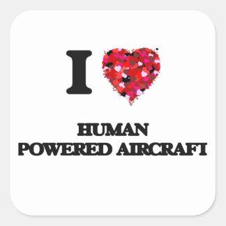Eu amo aviões pstos ser humano adesivo quadrado