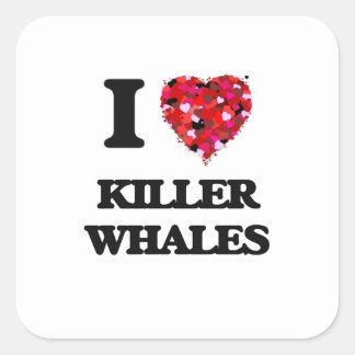 Eu amo baleias de assassino adesivo quadrado