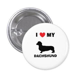 """""""Eu amo botão do meu Dachshund"""" Bóton Redondo 2.54cm"""