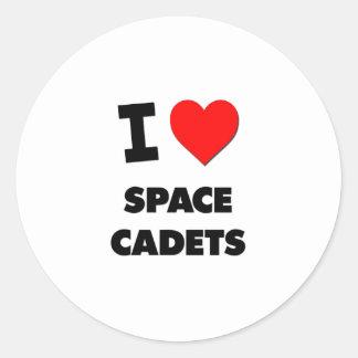Eu amo cadete do espaço adesivos redondos