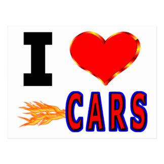 Eu amo carros rápidos cartão postal