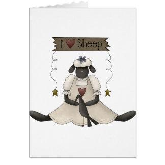 Eu amo cartões de nota dos carneiros