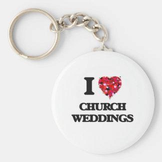Eu amo casamentos da igreja chaveiro