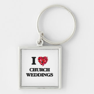 Eu amo casamentos da igreja chaveiro quadrado na cor prata