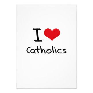 Eu amo católicos convites personalizado