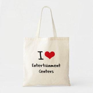 Eu amo centros de entretenimento sacola tote budget