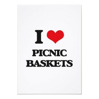 Eu amo cestas do piquenique convites
