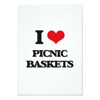 Eu amo cestas do piquenique convite personalizados