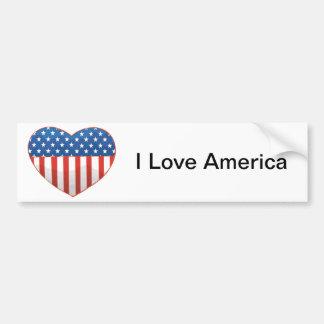 Eu amo coração da bandeira de América - os Estados Adesivo Para Carro