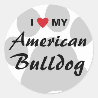 Eu amo (coração) meu buldogue americano adesivo redondo