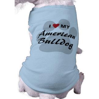 Eu amo (coração) meu buldogue americano camisa sem mangas para cachorro