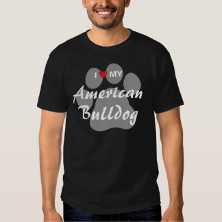 Eu amo (coração) meu buldogue americano camisetas