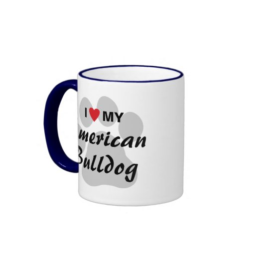 Eu amo (coração) meu buldogue americano canecas