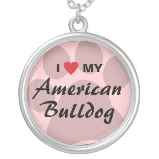 Eu amo (coração) meu buldogue americano colar com pendente redondo