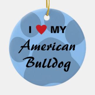 Eu amo (coração) meu buldogue americano ornamentos