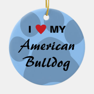 Eu amo (coração) meu buldogue americano ornamento de cerâmica redondo