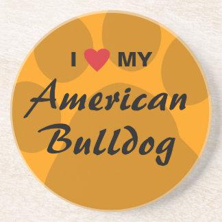 Eu amo (coração) meu buldogue americano porta copos de arenito