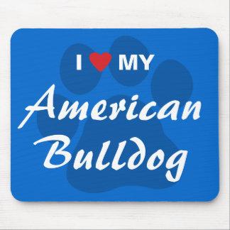 Eu amo (coração) meu buldogue americano mouse pad