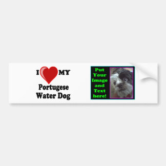 Eu amo (coração) meu cão de água português adesivo para carro