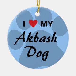 Eu amo (coração) meu cão de Akbash Ornamento De Cerâmica Redondo