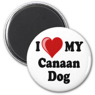 Eu amo (coração) meu cão de Canaan Ímã Redondo 5.08cm