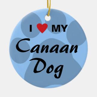 Eu amo (coração) meu cão de Canaan Ornamentos Para Arvore De Natal