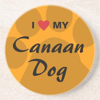 Eu amo (coração) meu cão de Canaan Porta-copos